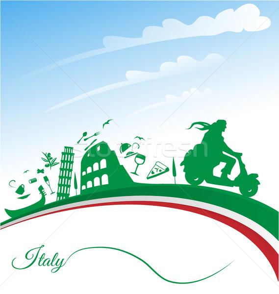 Italiaans vakantie vlag voedsel wijn mode Stockfoto © doomko
