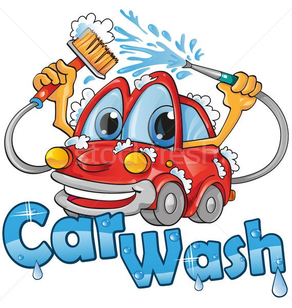 Lava-jato serviço água carro feliz limpar Foto stock © doomko
