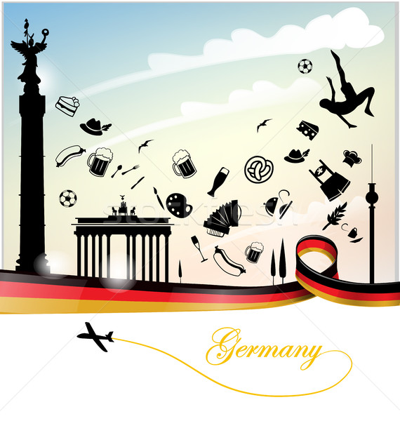 Almanya bayrak simge ayarlamak dizayn cam Stok fotoğraf © doomko
