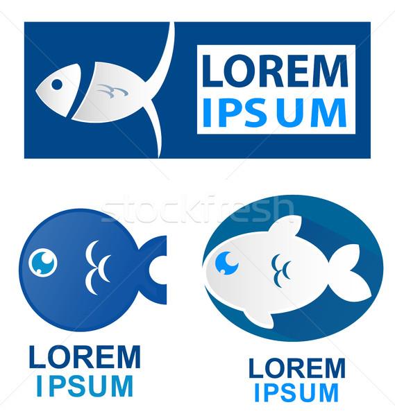 魚 シンボル セット 白 海 ストックフォト © doomko
