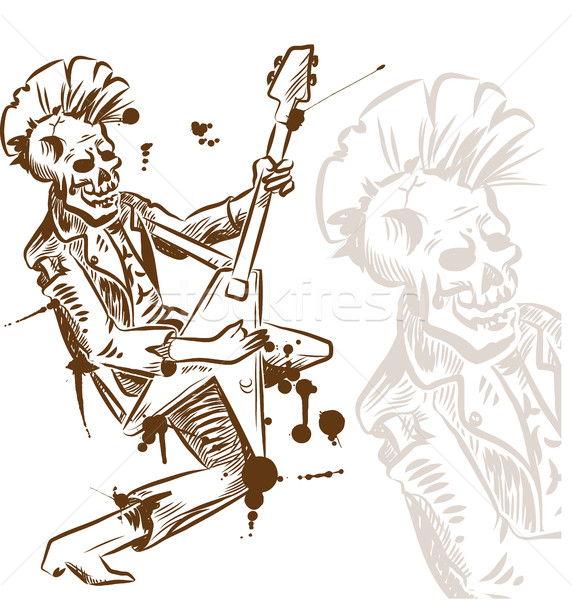 punk rock guitarist hand draw Stock photo © doomko