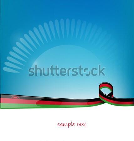 Foto stock: Azerbaiyán · cinta · bandera · cielo · azul · diseno · arte