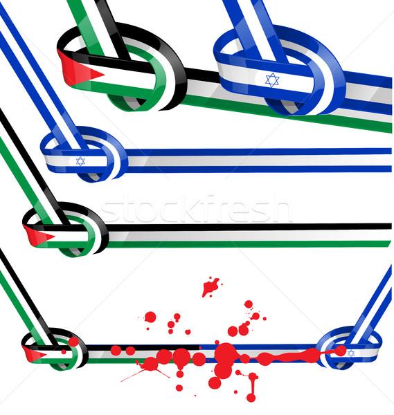 Israël ingesteld vlag witte achtergrond teken Stockfoto © doomko
