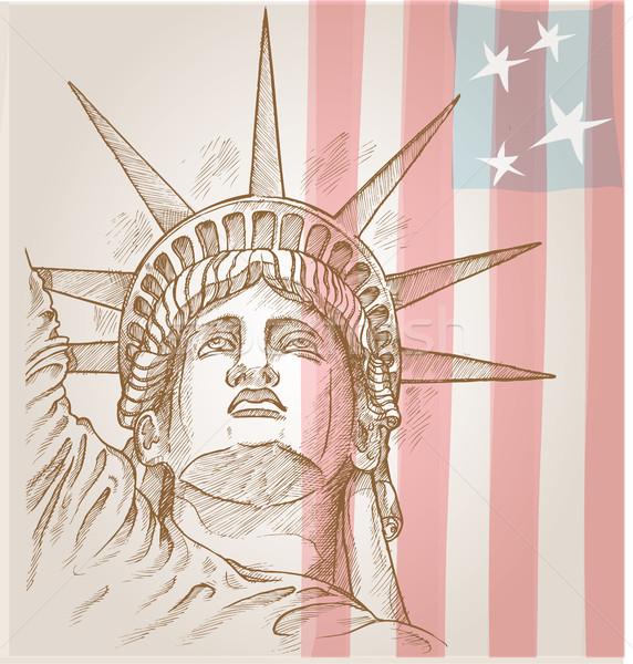 Statue liberté visage pavillon lumière rétro Photo stock © doomko