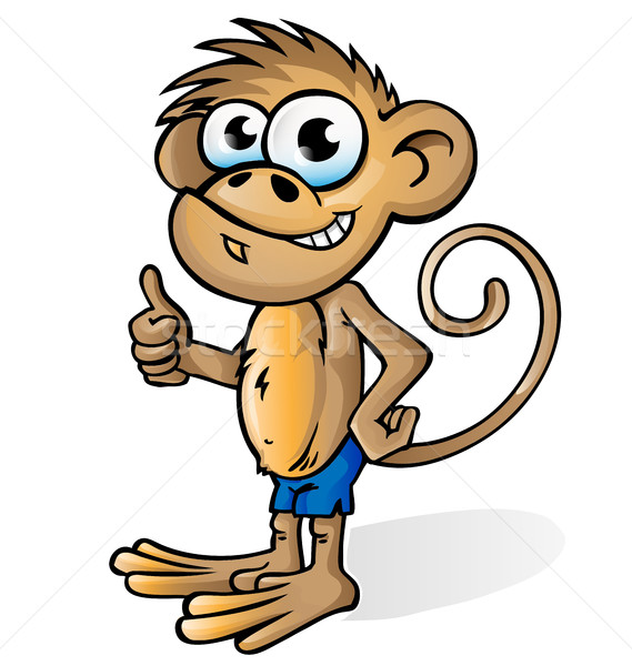 обезьяны Cartoon изолированный белый улыбка ребенка Сток-фото © doomko