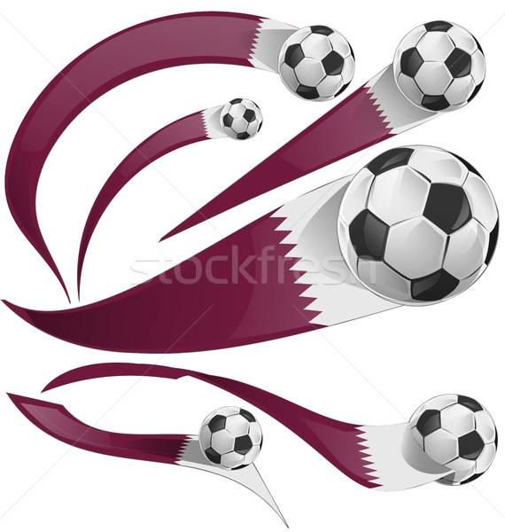 qatar flag set with soccer ball Stock photo © doomko