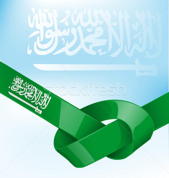 Saudi Arabia ribbon flag on sky backgroun Stock photo © doomko