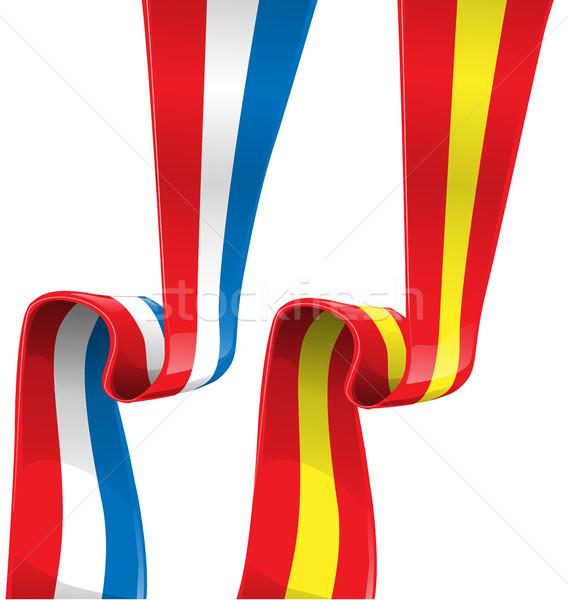 フランス スペイン リボン フラグ 白 ツリー ストックフォト © doomko