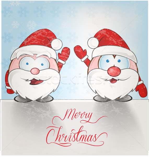 Leuk kerstman cartoon sneeuw winter Rood Stockfoto © doomko