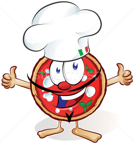 Leuk pizza cartoon hoed duim omhoog Stockfoto © doomko