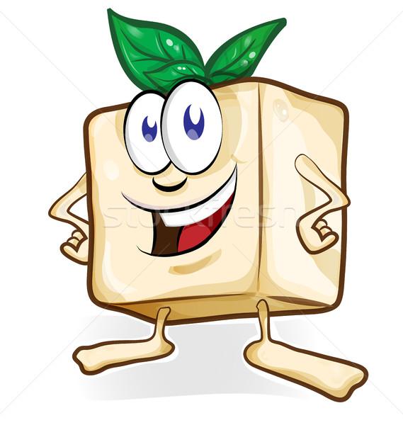 Tofu cartoon basilicum geïsoleerd voedsel achtergrond Stockfoto © doomko
