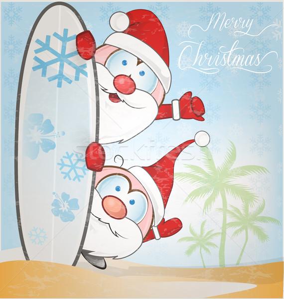 楽しい サンタクロース 漫画 サーフボード 雪 幸せ ストックフォト © doomko