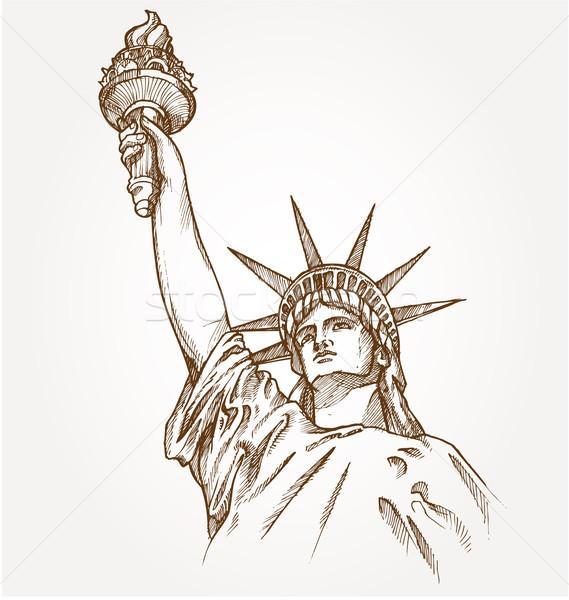 Standbeeld vrijheid hand dawn licht retro Stockfoto © doomko