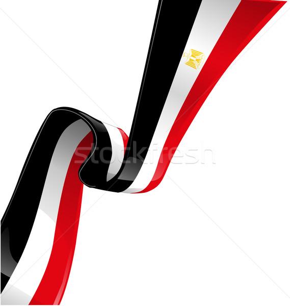 Mısır bayrak beyaz yalıtılmış spor sanat Stok fotoğraf © doomko