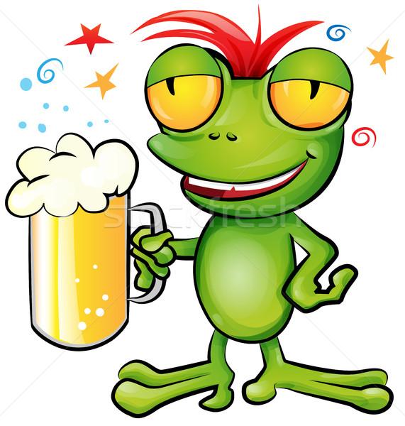 カエル 漫画 ビール 緑 バー 楽しい ストックフォト © doomko