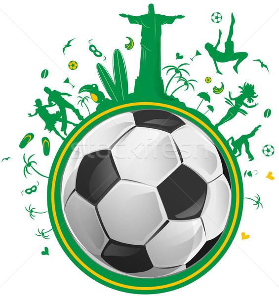 Brezilya simge ayarlamak futbol topu kız parti Stok fotoğraf © doomko