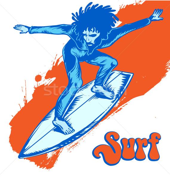 surfer on wave isolated on white Stock photo © doomko