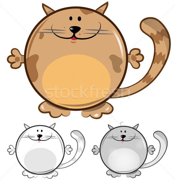 Funny gato Cartoon establecer aislado blanco Foto stock © doomko