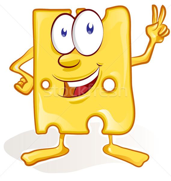 Leuk kaas cartoon witte voedsel gezicht Stockfoto © doomko