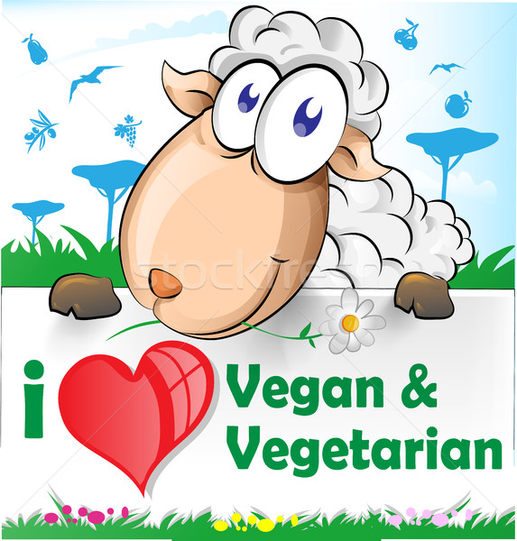 Stock photo: sheep cartoon with vegetarian and vegan banner