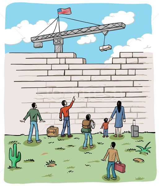 many people  refugees on a border wall with a crane and USA flag Stock photo © doomko