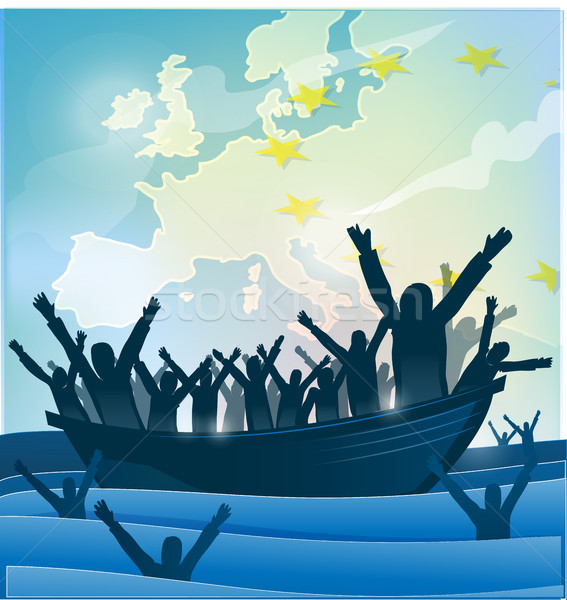 Immigrazione persone barca mappa famiglia Foto d'archivio © doomko