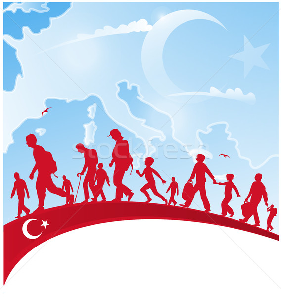 immigration people on turkey flag Stock photo © doomko