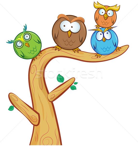 面白い フクロウ グループ 漫画 ツリー 孤立した ストックフォト © doomko