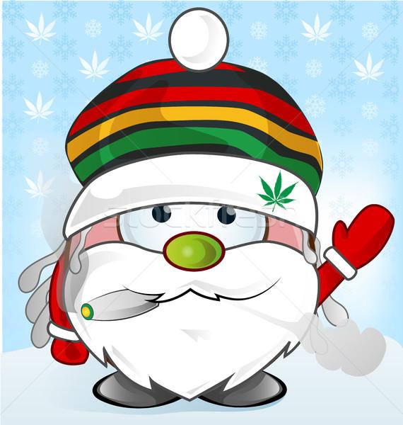Kerstman cartoon glimlach gelukkig ontwerp sneeuw Stockfoto © doomko