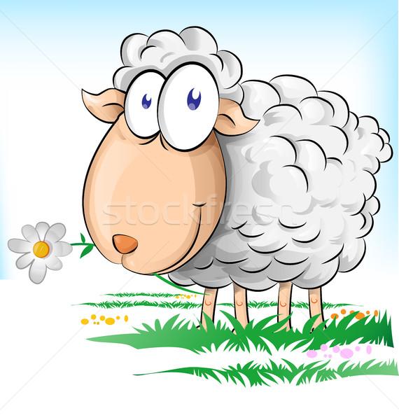 Koyun karikatür Paskalya çiçek çim doğa Stok fotoğraf © doomko