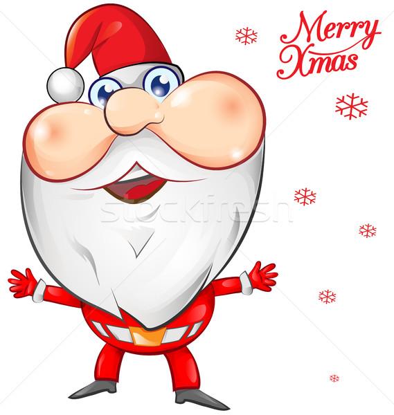 Noel baba karikatür yüz adam dizayn kar Stok fotoğraf © doomko
