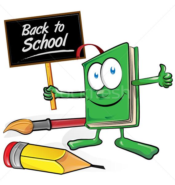 De volta à escola livro desenho animado quadro educação assinar Foto stock © doomko