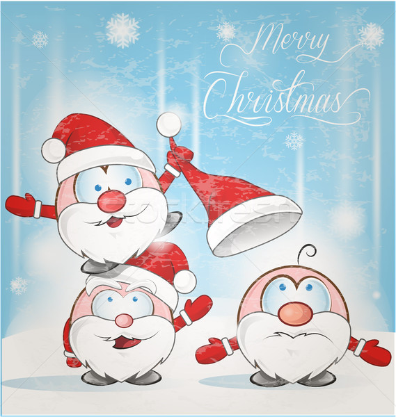 Stock photo: fun santa claus cartoon on snow background