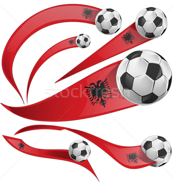 albania flag set with soccer ball Stock photo © doomko