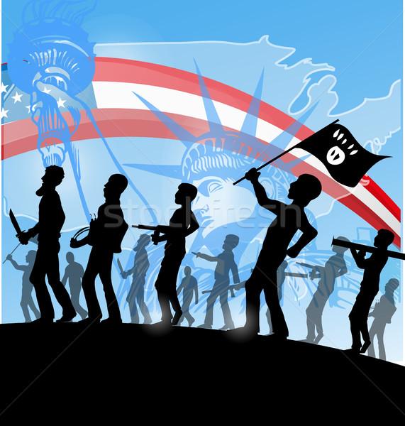 Terrorista silhueta americano mapa assinar guerra Foto stock © doomko
