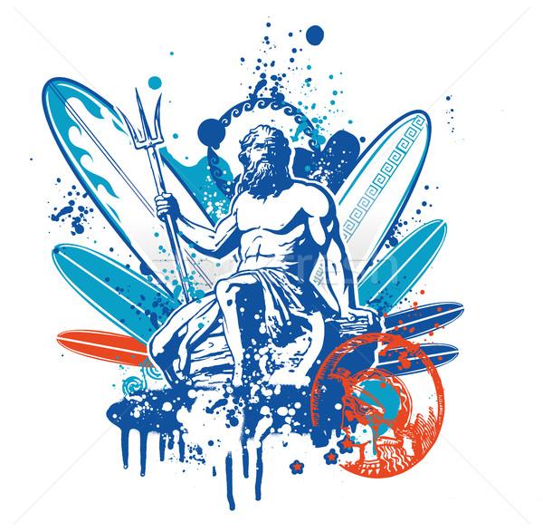 Sörfçü plaj su spor yaz mavi Stok fotoğraf © doomko
