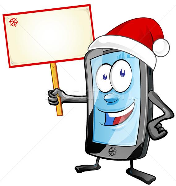 весело Рождества мобильных Cartoon изолированный белый Сток-фото © doomko