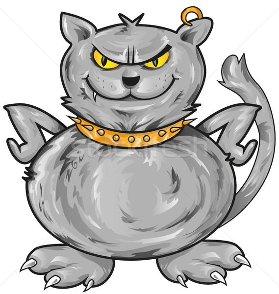 öfkeli kedi karikatür arka plan sanat boyama Stok fotoğraf © doomko