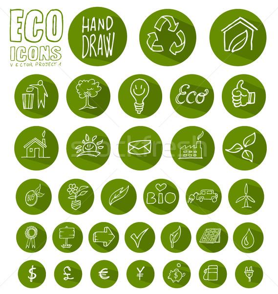 エコ アイコン ボタン セット 孤立した 白 ストックフォト © doomko