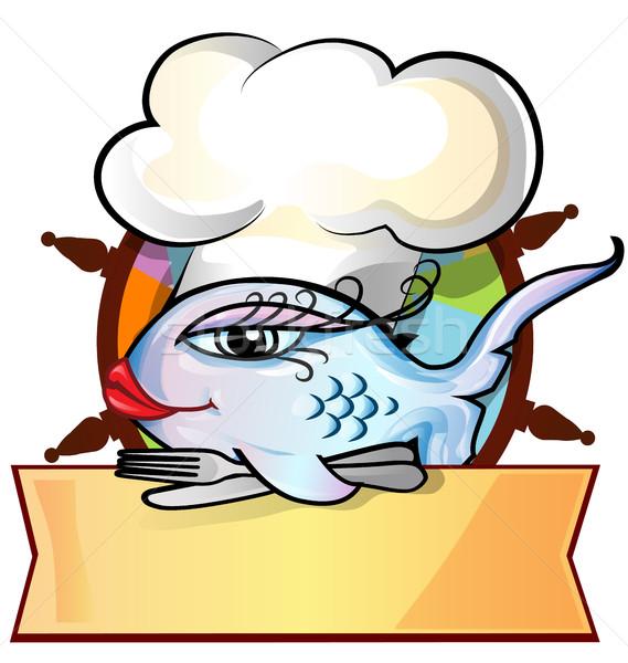 restaurant fish menu on rudder Stock photo © doomko