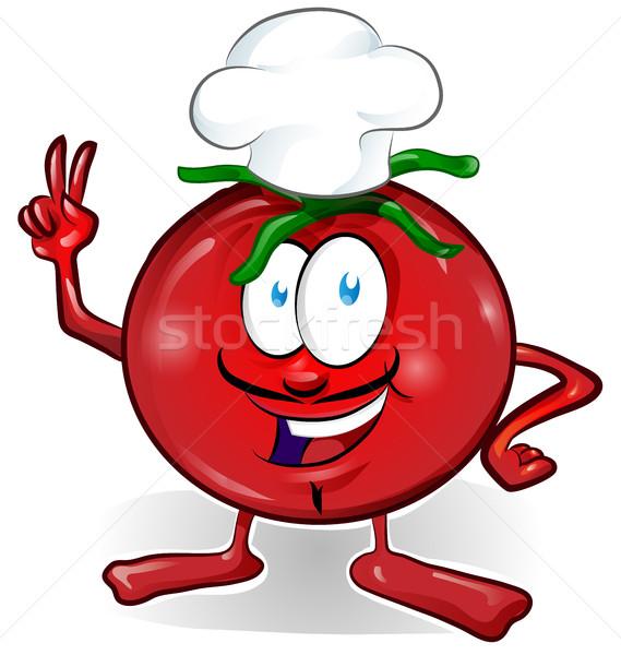 楽しい トマト シェフ 漫画 孤立した 白 ストックフォト © doomko