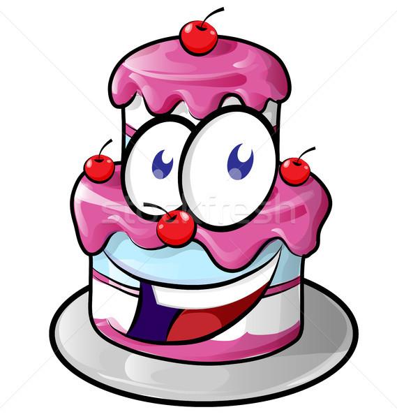 Stock fotó: Illusztráció · aranyos · boldog · torta · rajz · izolált