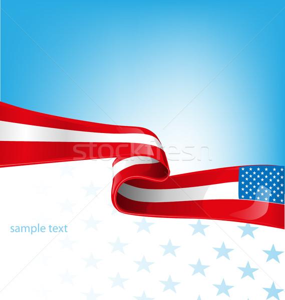 Сток-фото: США · флаг · небе · фон · звездой · белый