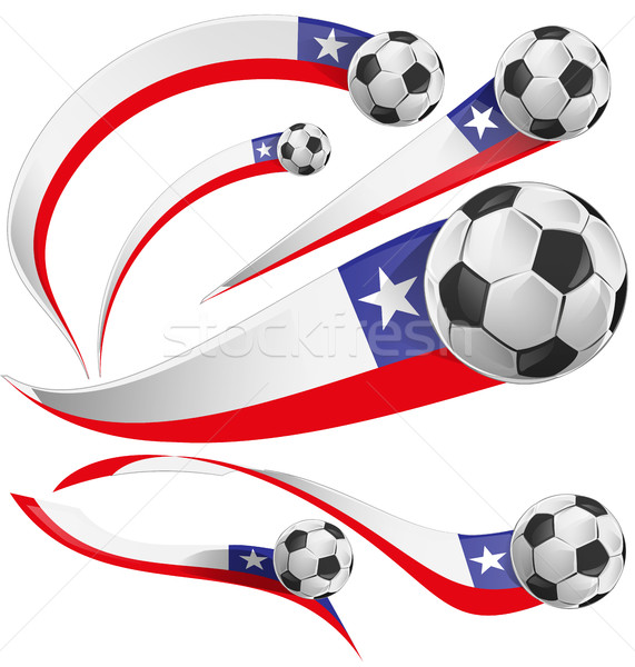 chile flag  with soccer ball isolated on white background Stock photo © doomko