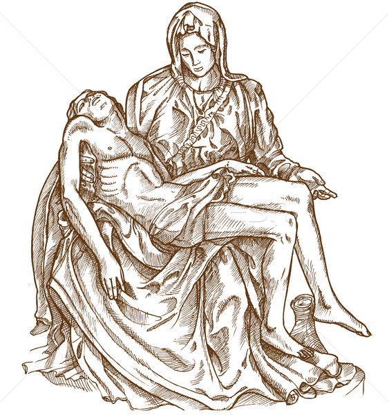 pieta statue of Michelangelo on white background Stock photo © doomko