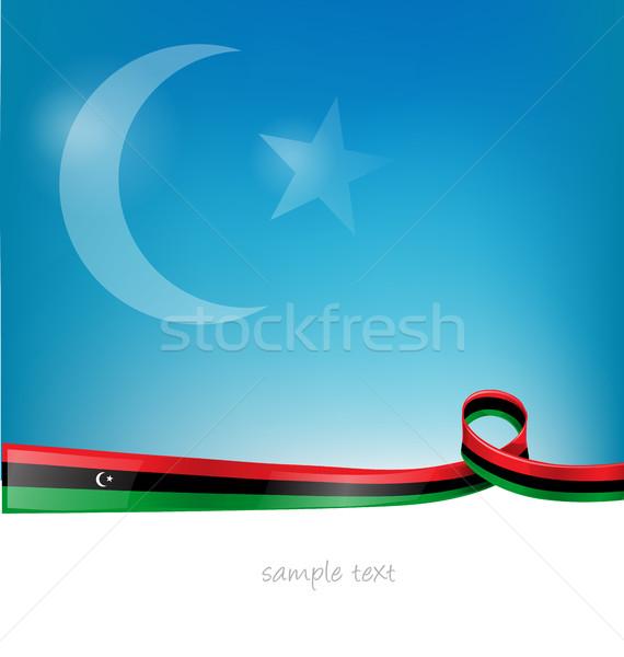 リビア フラグ 空 リボン 抽象的な 芸術 ストックフォト © doomko