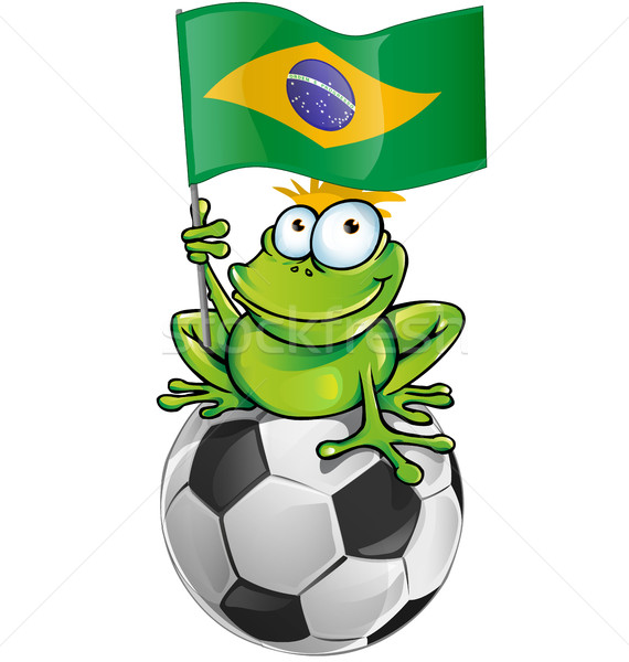 frog cartoon with soccer ball  Stock photo © doomko