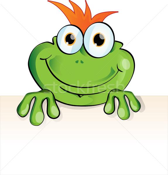 Komik kurbağa karikatür eğlence hayvan tahta Stok fotoğraf © doomko