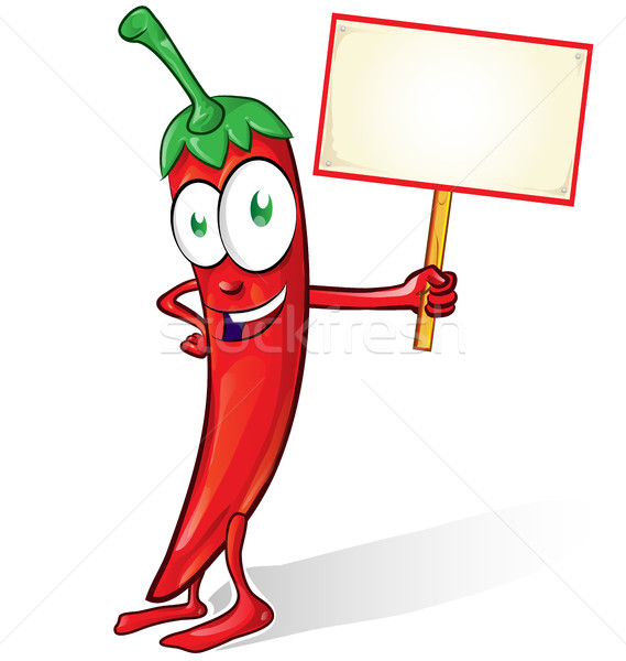 mexican chili cartoon isolated with signboard on white backgroun Stock photo © doomko