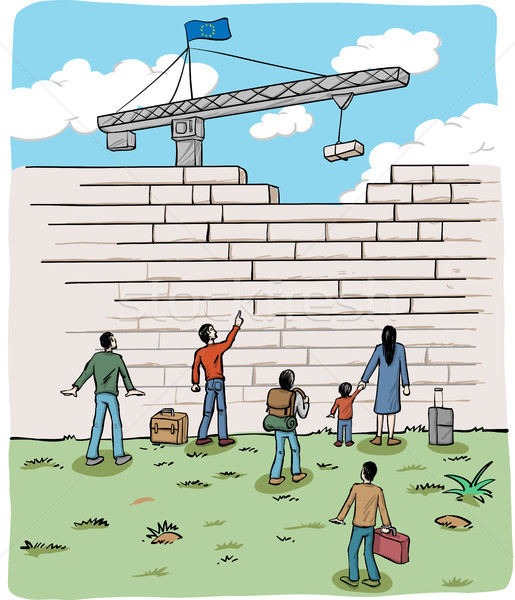 many people  refugees on a border wall with a crane and european Stock photo © doomko